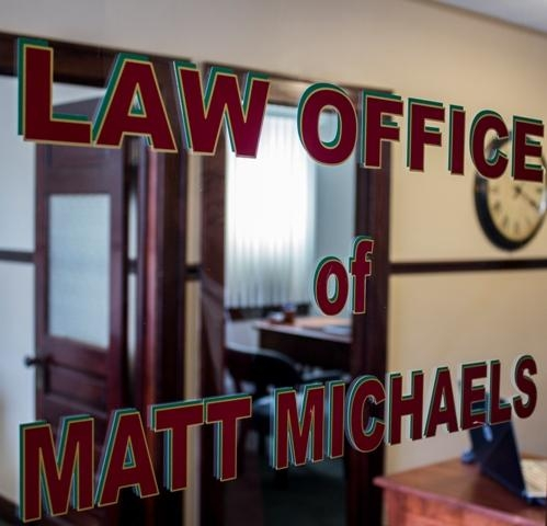 Photo, entry door and sign, Matt Michaels, Attorney